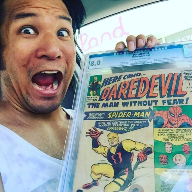 Sam poses with a copy of Daredevil #1