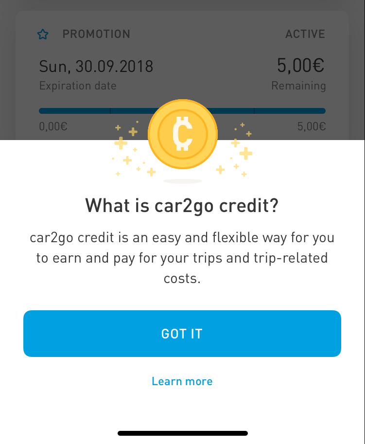 about car2go credit